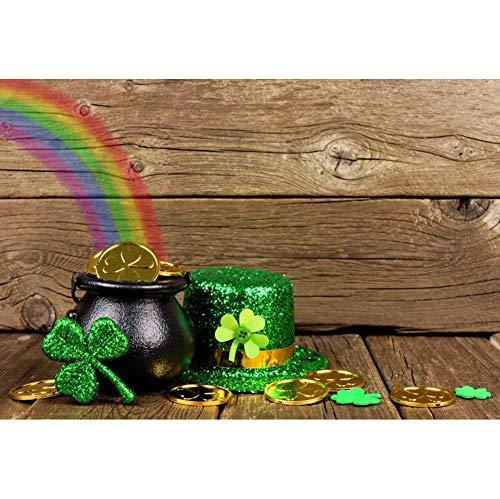 YongFoto 2,2x1,5m Vinyl St. Patrick's Day Foto Hintergrund Grüner Hut mit Pailletten Kleeblatt Klee Topf mit Goldmünzen Holzwand Boden Fotografie Hintergrund Fotostudio Hintergründe Requisiten