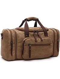Toile de sac à dos de voyage pour hommes, Sac marin rétro Cylindre Sac 35L randonnée bagages Sac week-end, marron