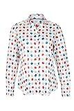 eterna Langarm Damen Bluse MODERN Classic BLAU/ROT/Weiss Bedruckt aus 100% Baumwolle, Grösse:34