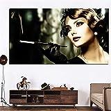 Audrey Hepburn Peinture Hd Imprimer Fille Fume Cigarette Femme Sur Toile Pop Art...