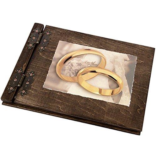 Aldecor - Registro degli ospiti con copertina in legno, 200 pagine, motivo: matrimonio