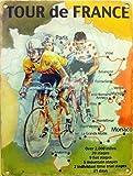 Tour de france Landkarte, gelb Trikot Sport, Rad, Fahrrad, vintage, Alt für Daheim, Schuppen, Mann Höhle, Sportbar, Restaurant oder shop Metall/Stahl Wandschild - 9 x 6.5 cm (Magnet)