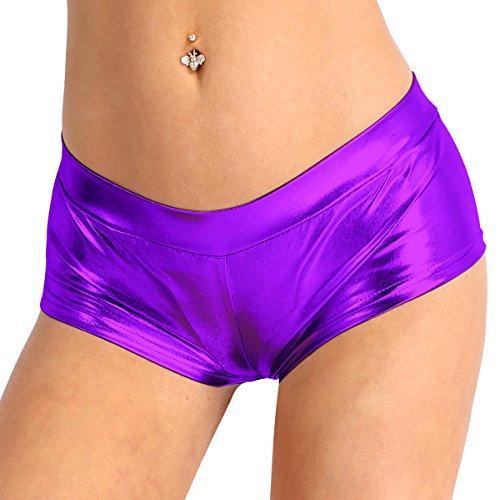 Agoky Damen Lack Leder Hotpants Shorty Super Kurze Hose Pants Frauen Mini Shorts Metallic Panty Glänzendes Kostüm Disco Gogo Tanz Clubwear Violett L(Taille 70cm)