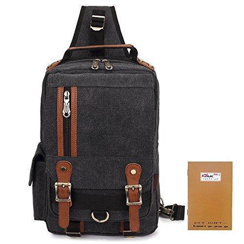 KAUKKO Stylische Tasche Retro Canvas Schultertaschen Sling Bag Outdoor Bauchtasche Reisetaschen Unisex Umhängetasche Handtasche Grau Black
