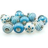 10er Set No. 10-743 blau Möbelknopf Set Jay Knopf ® Möbelknauf Set Möbelknöpfe Set, Möbelgriff Set, Shabby Chic Vintage Retro Keramik Porzellan