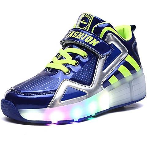 Scarpe Bambini Sneakers Boy & Girl ruota rullo LED Scarpe Sport Casual pattini da ghiaccio per San Valentino, Natale Halloween, Blue, US 11=EU 38