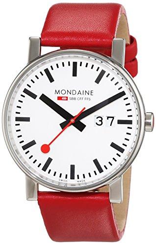 Mondaine A6273030311SBC Orologio da Polso, Display Analogico, Uomo, Cinturino Pelle, Rosso