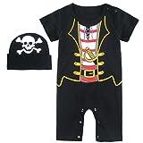 Mombebe Baby Jungen Halloween Piraten Kostüm Strampler mit Hüte (12-18 Monate, Piraten)