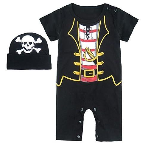 Mombebe Baby Jungen Halloween Piraten Kostüm Strampler mit Hüte (18-24 Monate, Piraten) (22 Halloween Kostüme)
