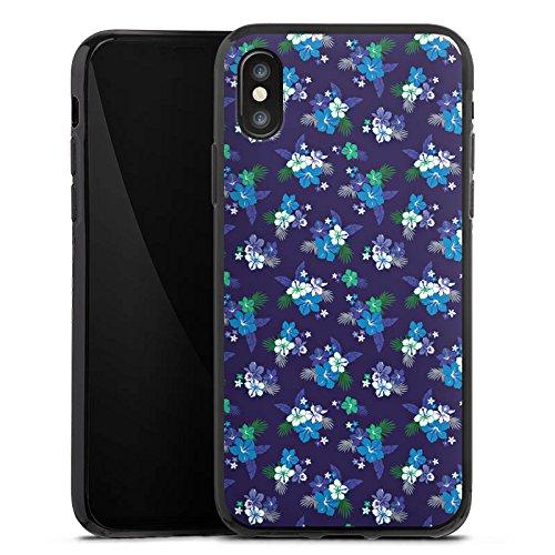 Apple iPhone X Silikon Hülle Case Schutzhülle Flower Blumen Muster Silikon Case schwarz