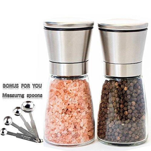 toogou Salz- und Pfeffermühle Set Edelstahl Pfeffer- und Salzmühlen Keramik Schleifstifte mechanism-pepper Shaker geeignet für-Pfeffer, Meersalz, Himalaya-Salz, Gewürze & Tisch Würze - silber