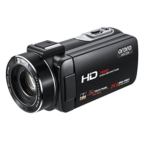 ORDRO 1080P 30FPS Full HD Wifi Videokamera mit Blitzschuh 3.0 Zoll Touchscreen 16x Digital Zoom Camcorder mit Fernsteuerung sstützstand (Schwarzes, HDV-Z20)