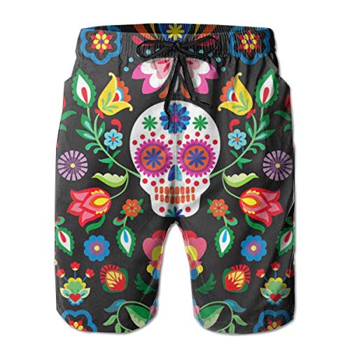 Men's 3D Print Mexican Sugar Skulls Day of The Dead Flowers Casual Classic Drawstring Loose Fit Trunks Boardshort Shorts XX-L -
