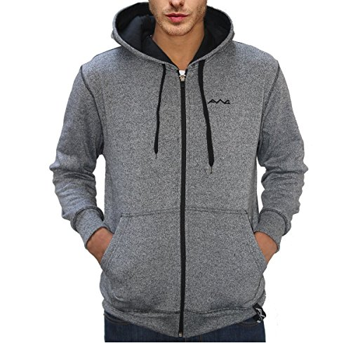 AWG Men's Black Melange Grindle Hoodie Sweatshirt with Zip - AWG-GRDL-SS1xl