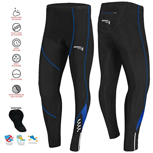 Brisk Bike Thermo-Radhosen Fahrradhosen Radsport-Leggings Fahrradhosen Radlerhosen gepolsterte Radhosen professionelle Radhosen Fahrradkleidung Mountainbike (Small, Black/Blue Model 2)