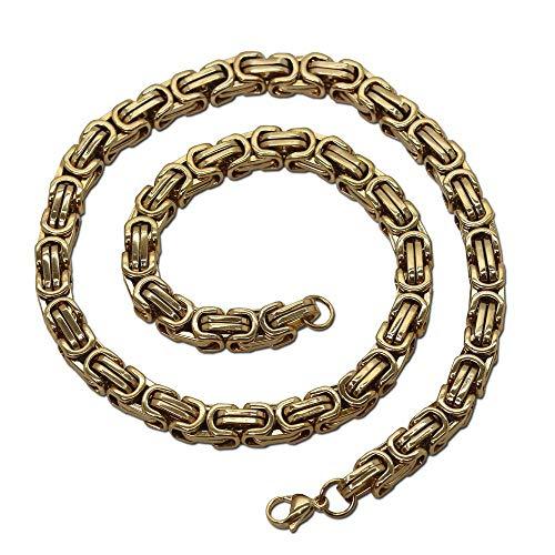 tumundo Edelstahlkette Panzerkette Massiv Königskette Armband Halskette Herren Damen Collier Kette Herrenschmuck Gliederkette, Modell:Gold - Ø 5mm - 22cm