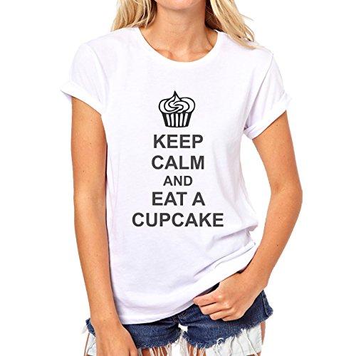 Keep Callm And Eat Cup Cake Damen T-Shirt Weiß