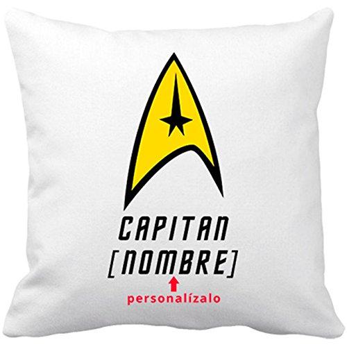Kissen mit Füllung STAR TREK individuell mit deinem Namen Kapitän Enterprise 35 x 35 cm weiß (Star Trek-kissen)