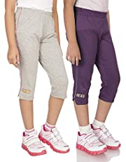 OCEAN RACE Girls attarctive Colors Cotton Capris(3/4 Th Pant)-Pack of 2