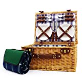 Panier de pique-nique en paille Henley Style de luxe à 4 personnes avec accessoires et une couverture de pique-nique imperméable à l'eau verte - Idées cadeaux pour anniversaires, mariages, anniversaires et entreprises