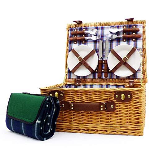 Luxuriöser Weiden Picknickkorb 'Henley' für 4 Personen Mit Grüner Picknickdecke - Ideale Geschenkidee Zum Geburtstag, Hochzeit, Ruhestand