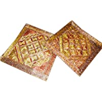 """Indian Throw Pillow Cushion Covers-2Rust Mirror Embroidered Throw Pillow 16"""""""