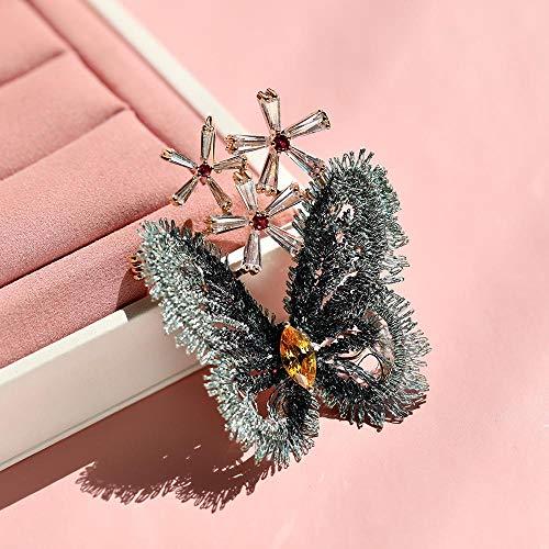 SZNYD Vintage Hand bestickte Spitze Zirkon Schmetterling Brosche Blume Anzug Strickjacke Pin -