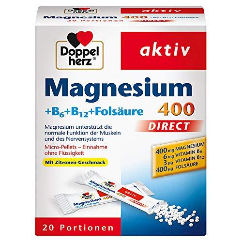 400 DIRECT - Nahrungsergänzungsmittel mit Magnesium als Beitrag für die normale Muskelfunktion - Plus B6, B12 und Folsäure - 1 x 20 Portionen Micro-Pellets ()