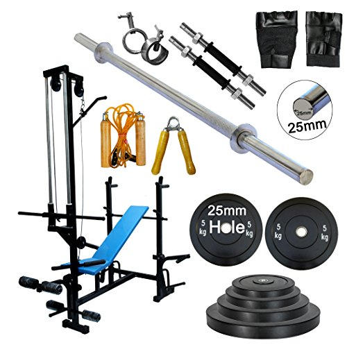 GOLD FITNESS 20 IN 1 BENCH+ 16KG HOME GYM SET+3 FT CURL ROD+5 FT PLAIN ROD +1 PAIR DUMBBELLS ROD+ALL GYM ACCESSORIES