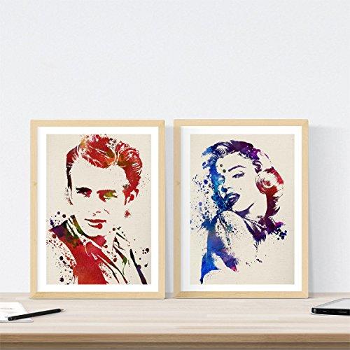men, um James Dean und Marilyn Monroe Aquarell Stil zu gestalten. Poster mit Bildern von Filmklassikern in der Größe a3 ()
