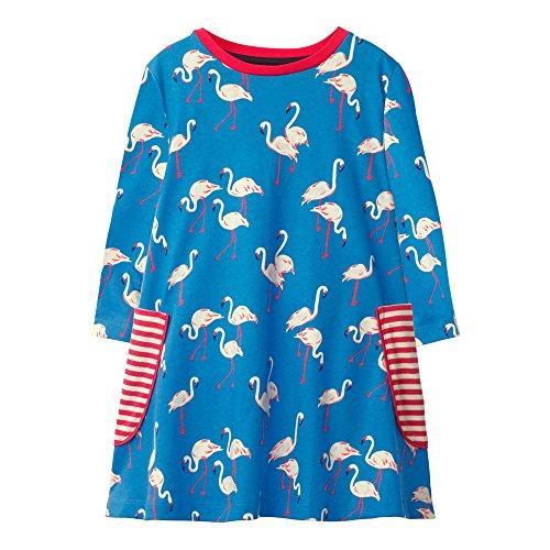 OHBABYKA Little Girls Cute Casual Baumwolle Tiere Gedruckt Streifen Langarm Playwear Kleid (4T, Flamingos)