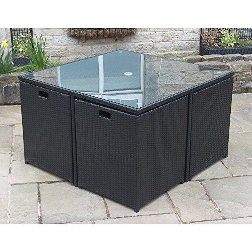 Rattan Cube Set schwarz