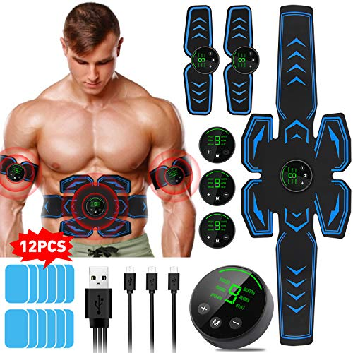 Lovebay EMS Trainingsgerät, Muskelstimulator Bauchmuskeltrainer Muskelstimulation Elektrostimulation Muskeltrainer Bauchtrainer Muskelstimulator Bauch Massagegerät Muskelaufbau und Fettverbrennungn