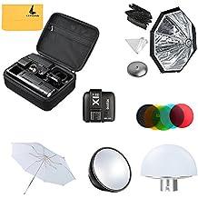 Godox AD200 200Ws 2.4G TTL Flash Strobe 1/8000 HSS Sin Cable Monolight + + X1T-N Transmisor+AD-S7 Softbox +AD-S2 Reflector Estándar+AD-S11 Filtro +AD-S17 +AD-S5 Reflector Paraguas+ LETWING Paño(AD200kit3)