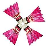 Eastlion 4 PCS LED Leuchten Badminton Federball Kunststoff Glow Birdies für Night Sport Rot