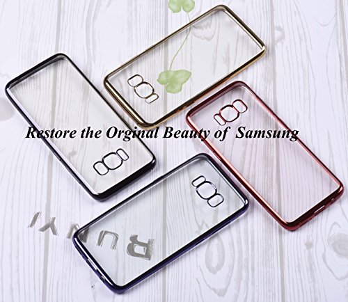 Samsung Galaxy S8 Hülle Samsung Galaxy S8 Schutzhülle, Dimi Samsung S8 Transparent Handyhülle Ultra Dünn Handyhülle Plating Soft Flex TPU Handyhülle für Samsung Galaxy S8 Case Cover, Samsung S8 Case Cover Transparent Gold