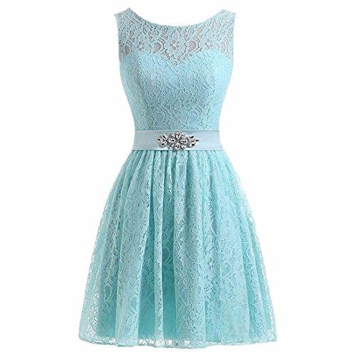 Femmes Vintage Floral Lace demoiselle d'honneur robe courte robe de bal sans manches ceinturée partie robe 9 couleur EU 32-52 Bleu clair