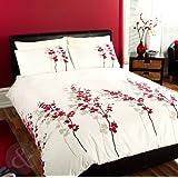 Just Contempo - Copripiumino trapuntato di lusso, con motivo floreale in stile orientale, set di biancheria da letto, colore: Rosso e panna, Misto cotone, copripiumino matrimoniale