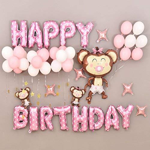 Deko Geburtstag, Geburtstag Buchstaben Luftballons Set, Ballon und Luftpumpe,Happy Birthday Party Ballons,Bunte Ballons für Geburtstagsfeiern, Kindgeburtstag deko, Geburtstagsdeko (Rosa)