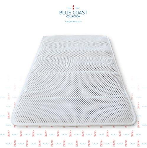 Azure Badewannenmatte von Blue Coast Collection! Premium Antirutsch Badewanneneinlage für Dusch und Badewanne, mit Netz-Technologie und weichen, luftgefüllten Fasern sowie mehr als 50 Saugnäpfen. Verhindert Schimmel und Pilze. Mit Badeschlappen!