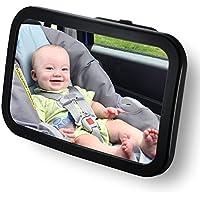 Westeng 1 PCS Espejo Retrovisor Coche para Vigilar al bebé en el Coche - Ángulo Ajustable de 360°,Color Negro