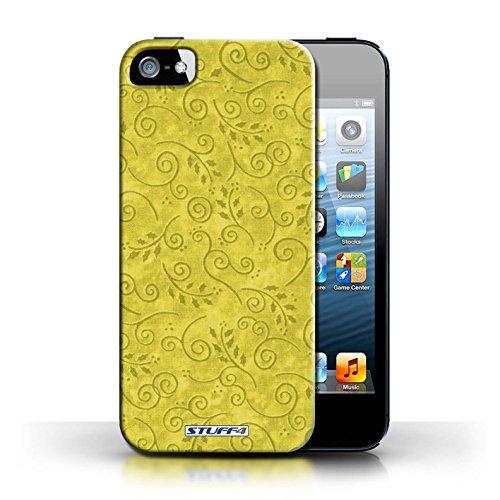 Kobalt® Imprimé Etui / Coque pour Apple iPhone 5/5S / Vert conception / Série Motif Feuille Remous Jaune