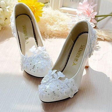RTRY Donna Scarpe Matrimonio Slingback Laccio Similpelle Molla Nozze Cadono Office &Amp; Carriera Parte &Amp; Sera Dressrhinestone Applique Imitazione Us8.5 Bianco / Eu39 / Uk6.5 / Cn40 US5 / EU35 / UK3 / CN34