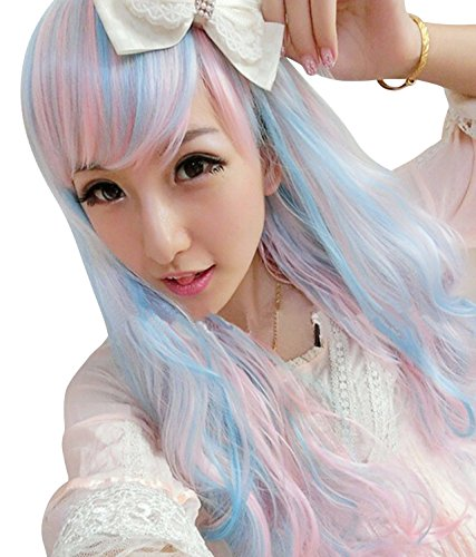 tfernt Perücke Anime Lolita gewellt lockigen Haare Blau Mix rosa Mädchen Cosplay Perücke (gehören eine Reflektionsband Radsportjacke als Geschenk) (Uk Cosplay Shop)