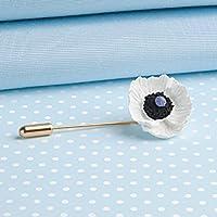 White Peace Poppy Stickpin