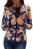 Voyelles Damen Blazer mit Stehkragen, Eine Kurze Jacke mit Blumen-Muster 32-38 Blau 38-40