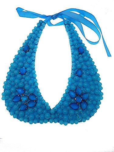PICCOLI MONELLI Collana a colletto donna corta girocollo con perline e pietre con laccetto in tessuto colore turchese