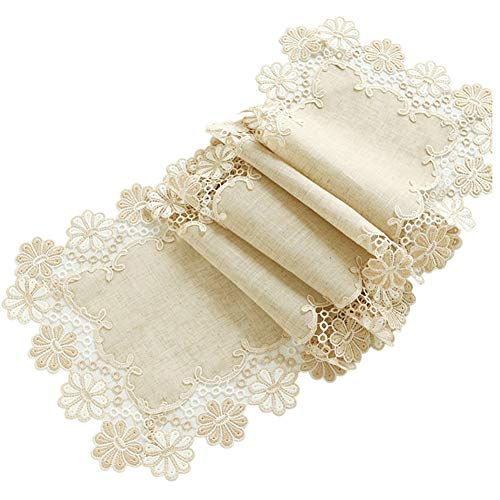 Chemin de table Chemin de table en dentelle, longue nappe beige pour la famille Family Mat Birthday Wedding Supplies Coffee Mat Hotel Literie (Couleur : Beige, taille : 40×200cm)