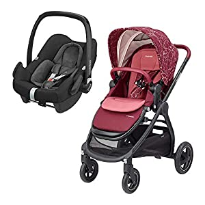 Maxi-Cosi Adorra Comfortable Urban Pushchair from Birth, Full Reclining Seat, 0 Months - 3.5 Years, 0 - 15 kg, Marble Plum with Rock Baby Car Seat Group 0+, ISOFIX, i-Size Car Seat, Rearward-Facing, 0-12 m, Nomad Black, 0-13 kg   5