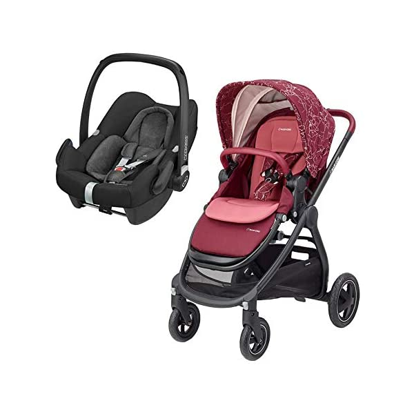 Maxi-Cosi Adorra Comfortable Urban Pushchair from Birth, Full Reclining Seat, 0 Months - 3.5 Years, 0 - 15 kg, Marble Plum with Rock Baby Car Seat Group 0+, ISOFIX, i-Size Car Seat, Rearward-Facing, 0-12 m, Nomad Black, 0-13 kg Maxi-Cosi Cocooning seat - the luxury of a large padded seat for baby Lightweight - a light stroller less than 12kg that makes walking effortless Baby car seat, suitable from birth to 13 kg (birth to 12 months) 1